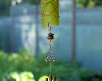 Wind Chime Sea Glass Beach Stones with Brass Chimes beach glass stained glass windchimes