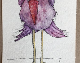 Original watercolor and Ink painting- Shy