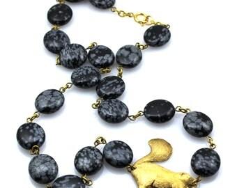 Skunks For Women, Skunk Jewelry For Women, Black Gold Animal Necklace, Black Animal Statement Jewelry, Bold Black Statement Necklace