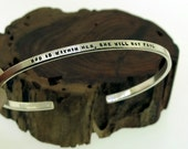 God Is Within Her, She Will Not Fail - sterling silver cuff by Kathryn Riechert (tiny text)
