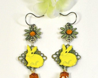 Yellow Bunny Rabbit Dangle Earrings Mellow and Yellow - Rabbit Earrings - Bunny Rabbit Inspired - Bunny Jewelry