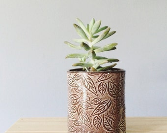 Succulent planter plant flower pot - white and brown leaf pattern ceramic planter tumbler  - handmade rustic modern ceramics and pottery