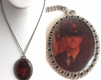 Vintage Antique Silver Oval Pendant, Photo Portrait Handsome Young Man in Uniform with US Flag - Simple Silver Chain - Sweetheart Boyfriend