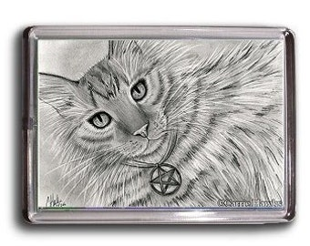 Long Haired Tabby Cat Magnet Tarot Art Page of Pentacles Cat Portrait Drawing Fantasy Cat Art Framed Magnet Cat Lovers Gift