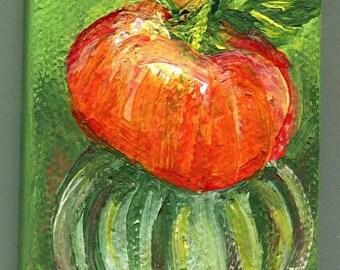 Original Pumpkins acrylic painting canvas art, Easel, 2 x 3  mini canvas art, orange & green striped pumpkin, stack of pumpkins painting