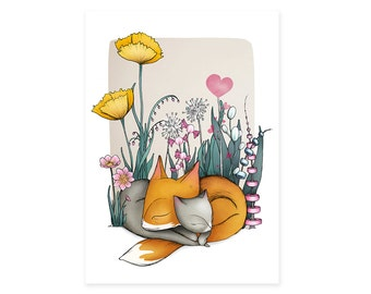 Fox Cat Card -  animals greetings card birthday cards - no wording - dreams flowers