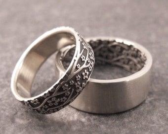 14k Gold Wedding Band Set, Opposites Attract Cherry Blossom Wedding Ring Set, Women's Wedding Ring, Men's Wedding Ring, Womens Wedding Band