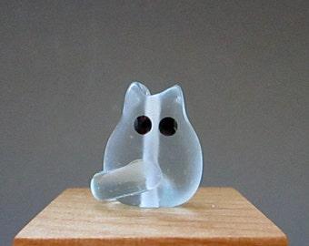 Blue Beach Glass Kitten Bead Handmade Lampwork Focal - Dolan Itty Bitty FatCat