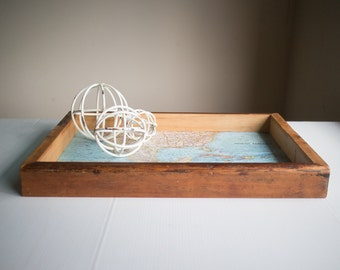 Reclaimed Wooden Tray + North American Map