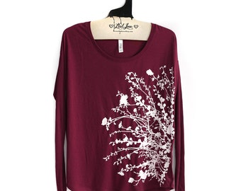 S,M,L, -Maroon Soft Flowy Long sleeve Top with Flowering Branch Screen print
