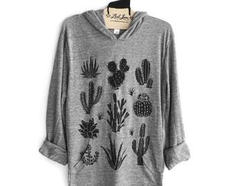 Unisex M - Heather Gray SOFT Pull Over Hoodie Sweatshirt with Cactus Screen print
