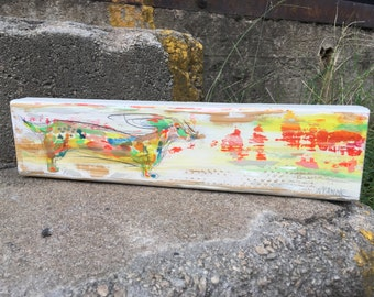 Windstorm Doxie Original Painting on Found Wood