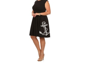 Plus size Anchor Dress womens Nautical clothing Fit and Flare 4XL dresses anchors cute nautical tunic screen printed pin up 2XL 3XL sizes