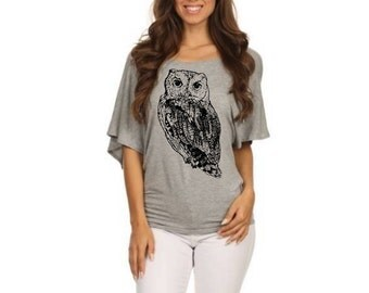Womens Owl dolman shirt Slouchy off shouldar Shirts screen printed bird shirts top Owls small, med, large, XL, 2XL 3XL clothing