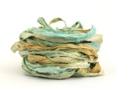 Recycled sari silk ribbon 10metres handdyed Sandy Toes, aqua blue olive brown, textile arts