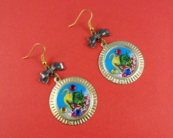 Dinosaur Earrings - triceratops earrings, vintage graphic, red blue green, black bow, kitsch cute novelty, retro geek geeky, Harajuku Decora