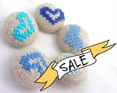 SALE - Blue Hearts - Hand Embroidered Buttons