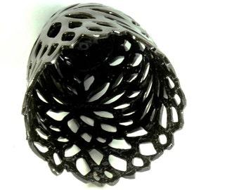 Ceramic Art Candleholder, Black Clay Sculpture, Art Vessel, Black Ceramic Vase, Luminaries, pottery and ceramics, Clay Art Object