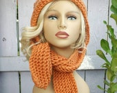 Knit Scoodie, Hooded Scarf Knit Hood, Oversized Knitting Hat Womens Hat Trendy, Winter Hat,  Orange Hood, Desert Glaze Orange Hat SLEIGH Hat
