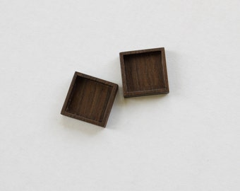 No laser fine finished hardwood bezel trays - Walnut - 3/4 Inch - 19.5 mm - (F9-W) - Set of 2