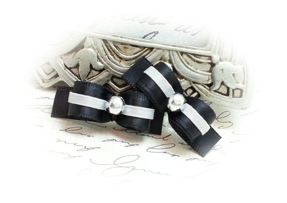 Black Satin Dog Bows, Boy Dog Bows, Small Pet Hair Bow, Bows for Dogs, Black Satin Ribbon