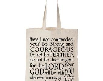 Bible Tote Bag | Church Tote Bag | Joshua 1:9 | Scripture Tote | Be Courageous