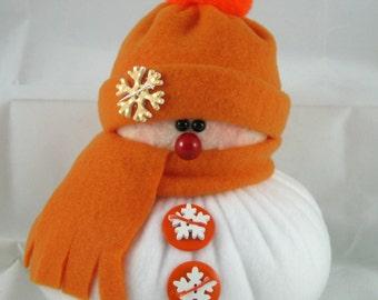 Handmade Stuffed Snowman Decoration, Christmas Holiday Decor, Snowman Christmas Ornament, Winter Decor, Little Bit in Orange Fleece