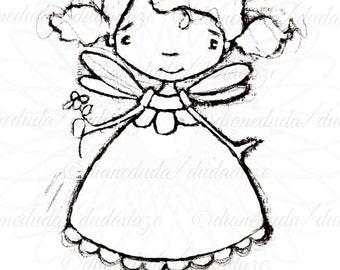 Black Eyed Susan Flower Fairy Digital Stamp - Printable - Art to Color by Duda Daze