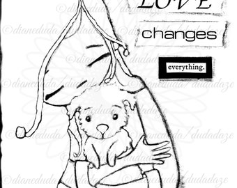 Love Changes Everything Girl and her Dog Digital Stamp - Printable - Art to Color by DudaDaze