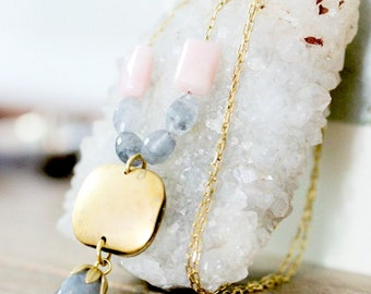 Pink Opal and Smoky Quartz Necklace