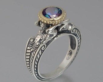 CARYATID ring in silver and 14k gold with Alexandrite