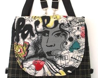 graffiti black bag, zipper bag, crossbody purse, black backpack, shoulder tote bag, sling bag, crossbody bag, fit ipad