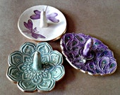SALE  THREE Ceramic  Ring Holder Bowls edged in gold