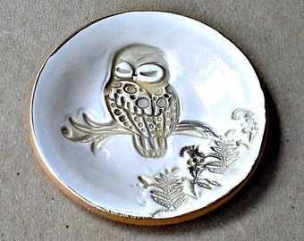 Ceramic Owl  Ring Bowl edged in gold