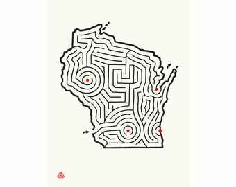 "12x16"" WISCONSIN Map State Maze Offset Print 