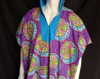 Sale! Spirit World Poncho© Hooded Circles African Wax Print, Dashiki, Caftan, Festival Clothing, OOAK, Caftan