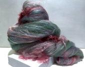 "Fiber Art Batt Roving,""Succulent Garden"" Silver grey aqua, sage green, pink red violet, dusk blue, wine needle nuno felt spinning fiber wool"