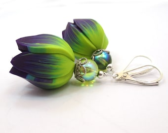 Polymer Clay Earrings, Tulip Earrings, Purple Green Earrings, Flower Earrings, Purple Yellow Earrings,  Big Dangle Earrings, AUBERGINE
