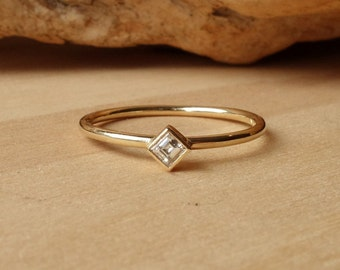 Square Stepped-Cut Diamond Ring