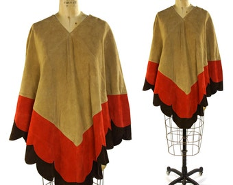 Patchwork Suede Poncho / Vintage 1970s Hippie Boho Pieced Leather Poncho / Bohemian Suede Cape with Chevron & Scallop Pattern