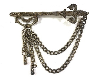 Skeleton Key Sword Brooch with Chains / Vintage 1960s Medieval Revival Pin in Antique Silver or Pewter