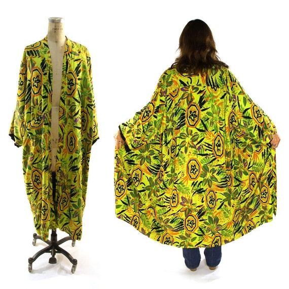 Batik Kimono / Vintage 1990s Bohemian Rayon Duster Jacket with Abstract Floral Print