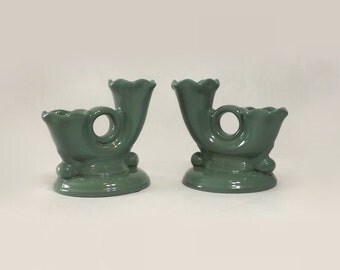 Abingdon Green Double Candle Holders, Vintage Pottery Candlesticks, Cottage Chic Home Decor