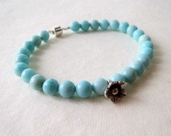 Larimar and Karen Hill Tribe Silver Beaded Bracelet