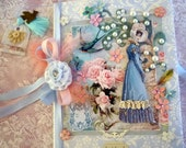 Blue Regency Lady  Large Journal  With Extra Ephemera