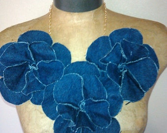 Frayed Denim Rosette Neckpiece Necklace