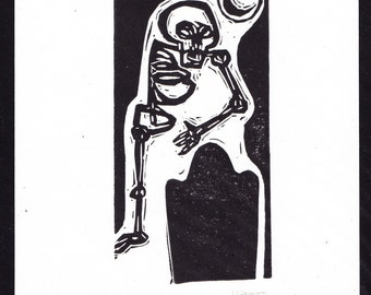 Creepy Cemetery Skeleton Telling a Ghost Story to A Tombstone Under the Light of the Moon hand printed black and white linocut original art