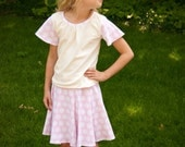 SALE Girl blouse sewing pattern and girls shirt pattern for T-shirt knits sizes 2-14
