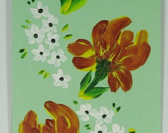 Hand-painted Magnetic Bookmark - Chrysanthamums and Daisies - No. 1198