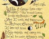 2005 Set Mabon Fall Equinox Sabbat 4 Art Parchments Magick & Properties Book of Shadows Grimoire Style Full Color Vibrant